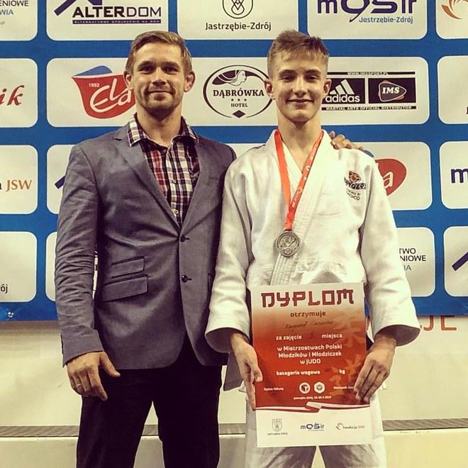 Krzysztof Cieciorko z trenerem Marcinem Niedzielskim